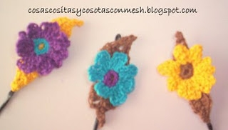 Закладки для книжки из цветочков крючком. Схемы цветов (2) (320x182, 33Kb)