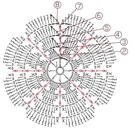 Закладки для книжки из цветочков крючком. Схемы цветов (27) (475x454, 180Kb)