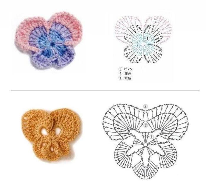 Закладки для книжки из цветочков крючком. Схемы цветов (29) (700x663, 162Kb)