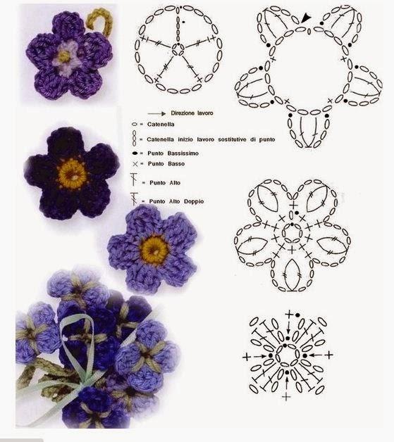 Закладки для книжки из цветочков крючком. Схемы цветов (39) (559x628, 174Kb)