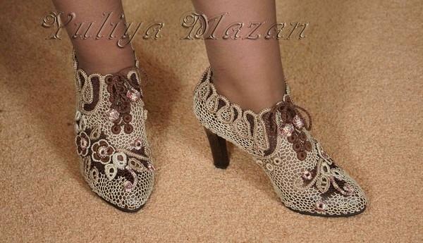 Вязанные туфли на подошве