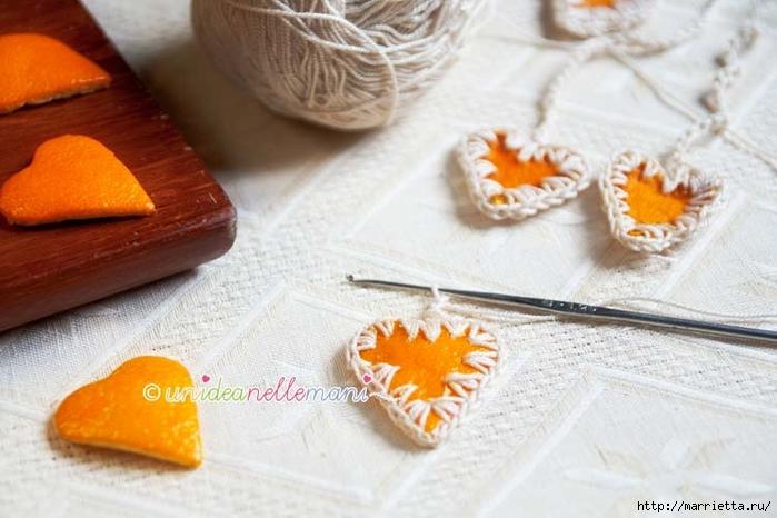 Апельсиновые сердечки с обвязкой крючком. Идея для декора подарка (3) (700x466, 219Kb)