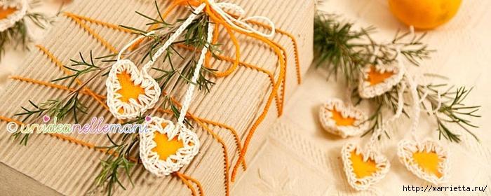 Апельсиновые сердечки с обвязкой крючком. Идея для декора подарка (5) (700x280, 193Kb)
