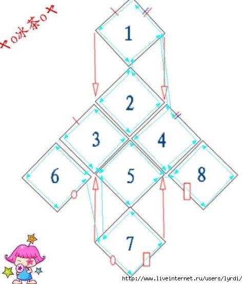 Схема вязания носков из квадратов 90