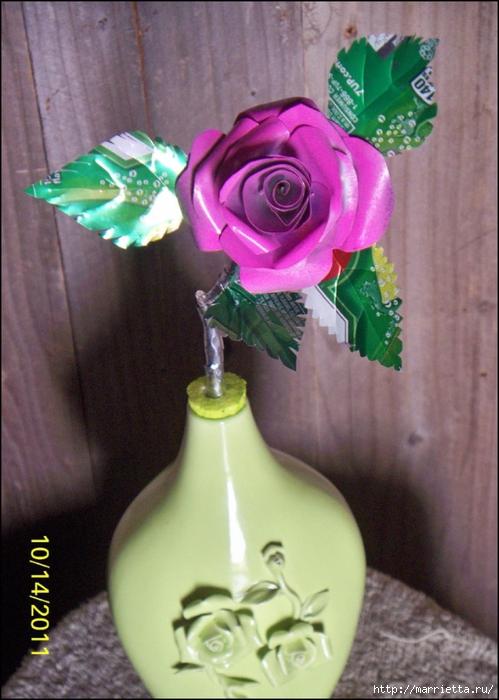 Розы и бабочки из алюминиевых баночек. Мастер-класс (18) (499x700, 270Kb)