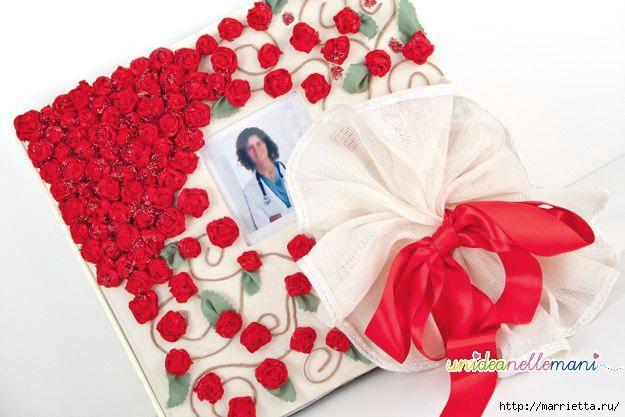 Как украсить свадебный фотоальбом. Розочки из ленточек крючком (1) (625x417, 142Kb)