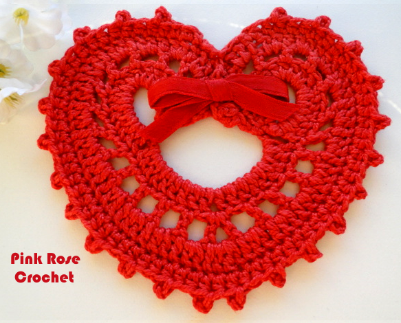 Cora??o Lindo de Croche Crochet Red Heart Coaster (583x470, 533Kb)