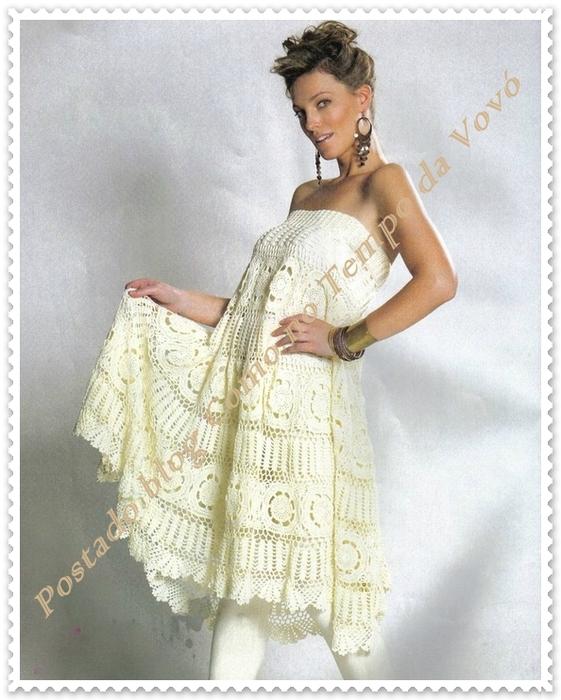 Вязаные платья и схемы