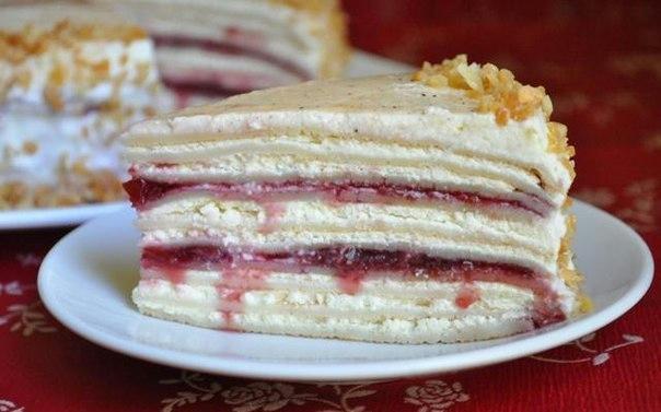 Сливочно-творожный блинный торт с вишневым джемом (604x377, 222Kb)