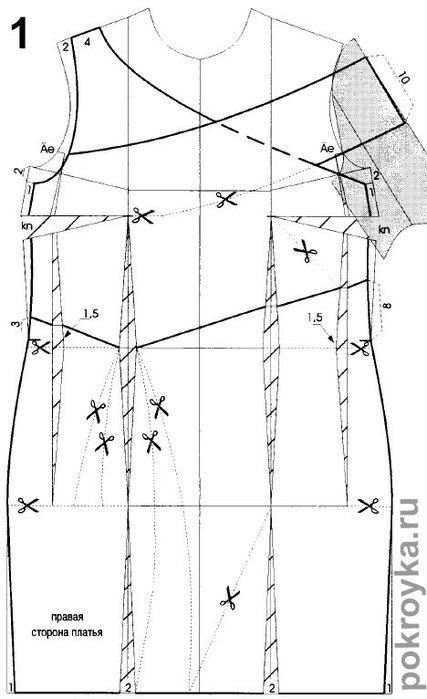 Выкройки платьев со встречными складками