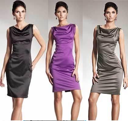 платья из цветного атласа для полных женшин