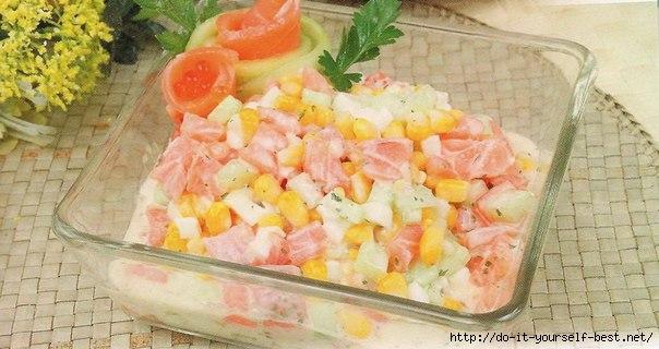 Рецепты салатов с семгой