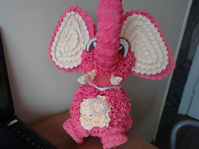 Розовый слон из розочек. Мастер-класс (19) (700x525, 196Kb)