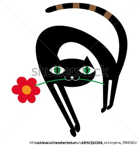 stock-vector-black-cat-with-flower-108171053 (450x470, 57Kb)
