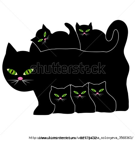 stock-vector-cat-and-kittens-82771432 (450x470, 61Kb)
