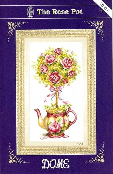 Топиарий с розами в чайничке.