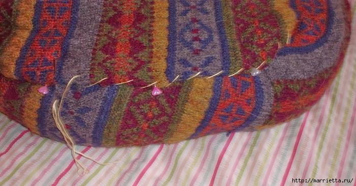Кроватка для кошки из старого свитера. Мастер-класс (9) (700x366, 237Kb)