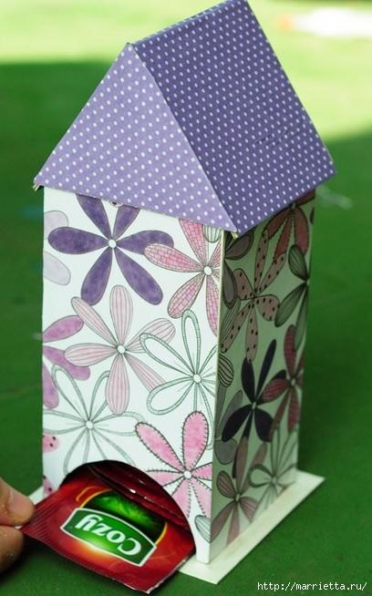 Cartón.  Casa en bolsas de té.  Master Class (17) (408x654, 178Kb)
