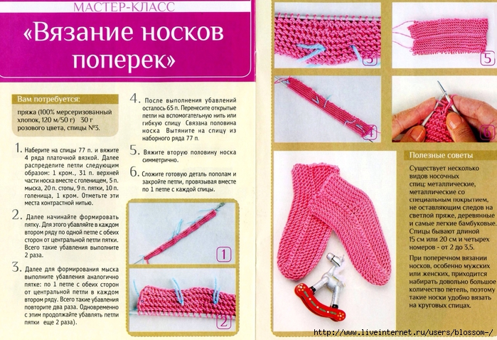 Вязание носка спицами пошаговое