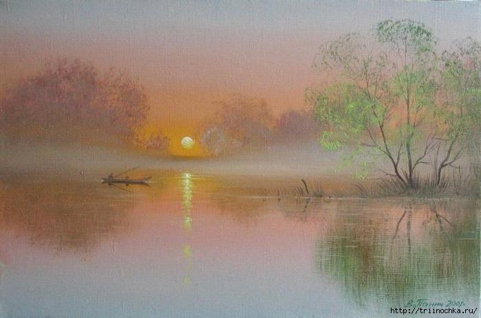 Утомленный закат засыпал над рекой. Пейзажи Владимира Панича!