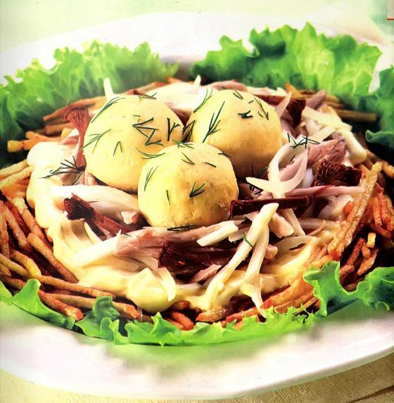 Гнездо глухаря салат из говядины