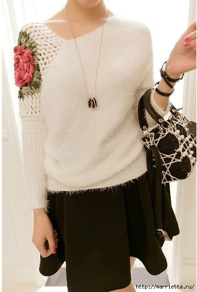 Роза на плече. Цветочная идея для вязаного пуловера (1) (405x600, 148Kb)