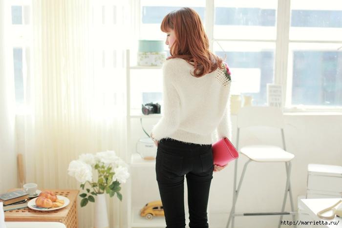 Роза на плече. Цветочная идея для вязаного пуловера (9) (700x467, 150Kb)