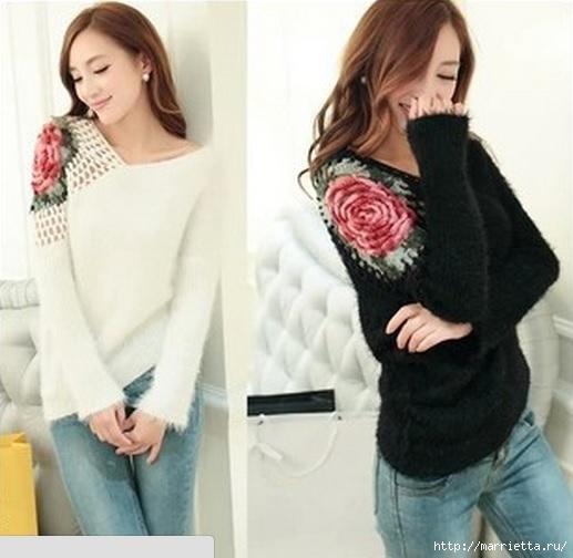 Роза на плече. Цветочная идея для вязаного пуловера (22) (517x504, 119Kb)