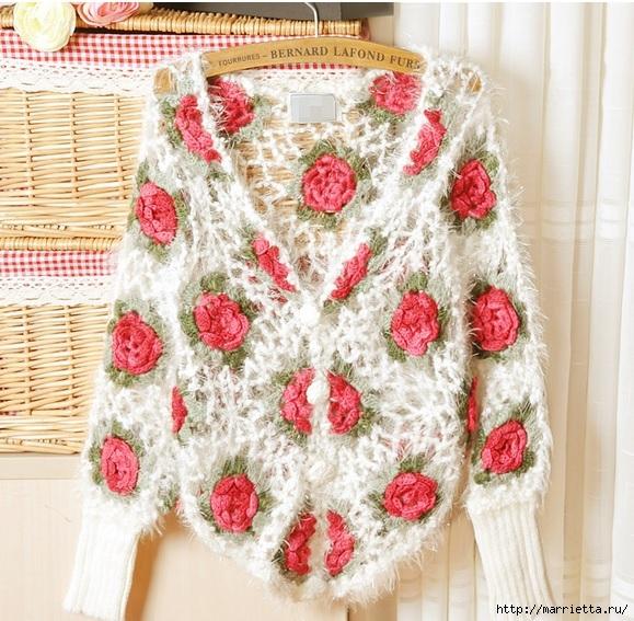 Роза на плече. Цветочная идея для вязаного пуловера (24) (579x567, 283Kb)