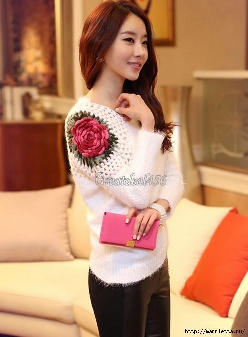Роза на плече. Цветочная идея для вязаного пуловера (26) (496x674, 160Kb)