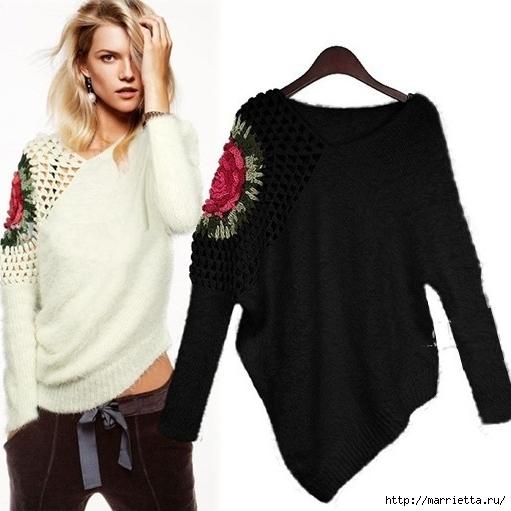 Роза на плече. Цветочная идея для вязаного пуловера (30) (511x511, 132Kb)