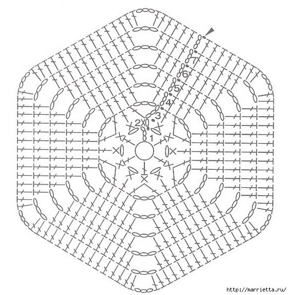 Вязание крючком. Прихватка с объемной розой (22) (582x594, 224Kb)