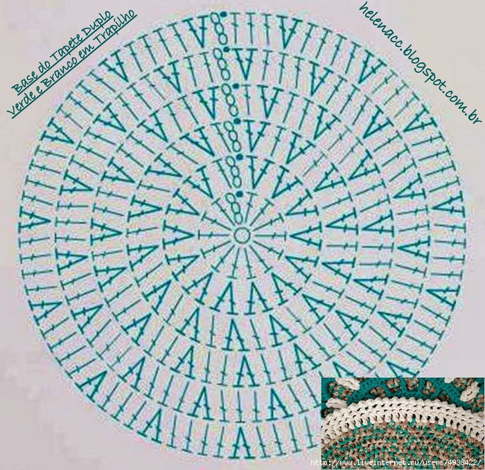 Крючок вязание коврик круглый