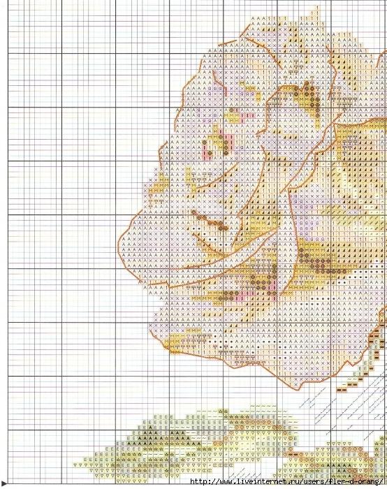 Схема вышивки розовых цветов 891