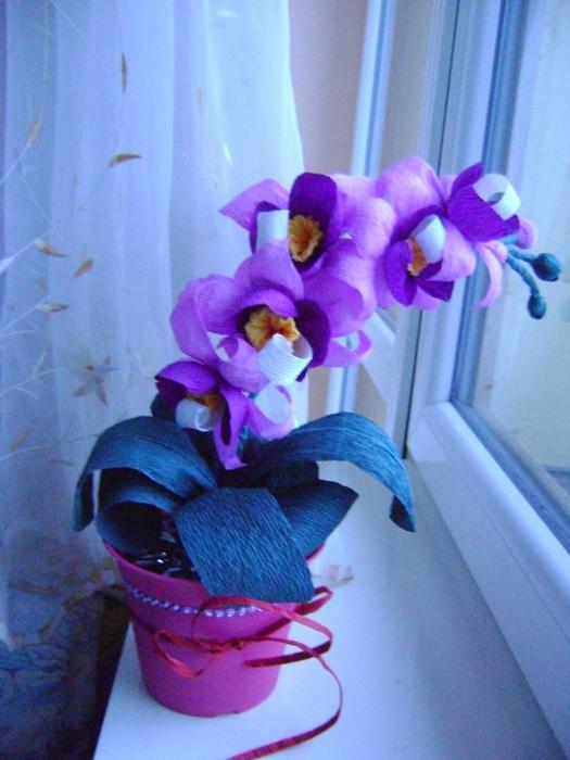 Мастер класс орхидея из гофрированной бумаги и конфет своими руками 98