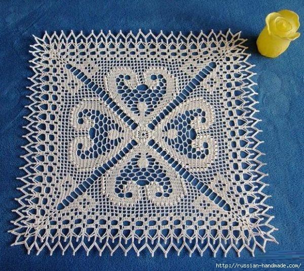 Вязание крючком. Салфетка с сердечками (1) (600x536, 310Kb)