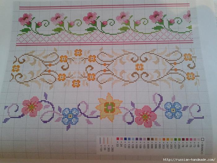 Схемы цветочной вышивки крестом для салфеток (5) (700x525, 305Kb)