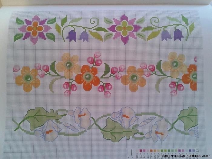 Схемы цветочной вышивки крестом для салфеток (7) (700x525, 285Kb)