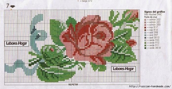 схемы вышивки крестом - цветы (7) (700x363, 273Kb)