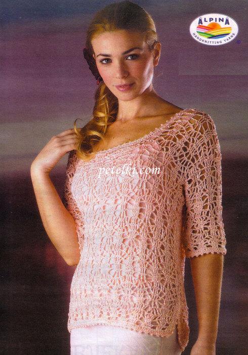 Фантазийный узор:по схеме.  350 г шелковой нити розового цвета.