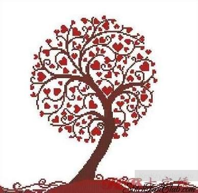 схема вышивки крестом Дерево
