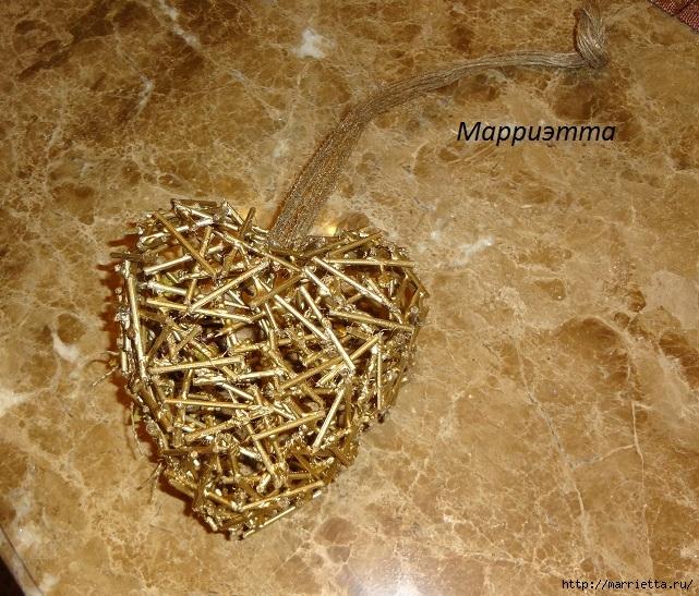золотая Валентинка. Пустотелое сердце из шашлычных палочек (9) (641x547, 348Kb)