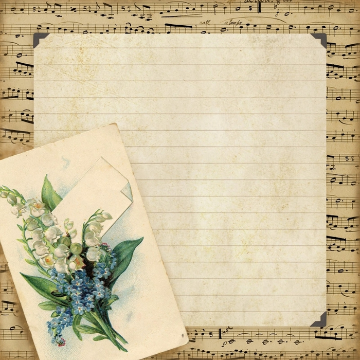 8x8 paper ~ music border. lined inset. notecard ~ lilac-n-lavender (700x700, 386Kb)