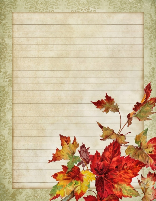 October leaves ~ printable lined stationery ~ lilac-n-lavender (541x700, 294Kb)