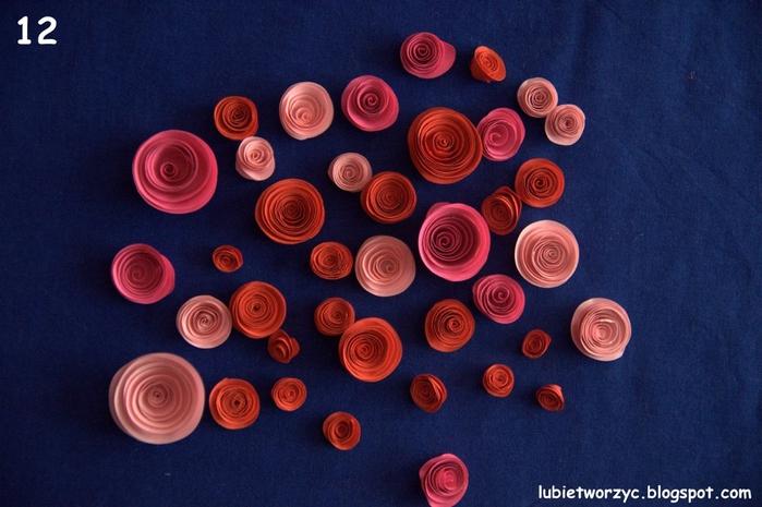 Валентинка из бумажных розочек для создания панно или открытки ручной работы (13) (700x465, 255Kb)