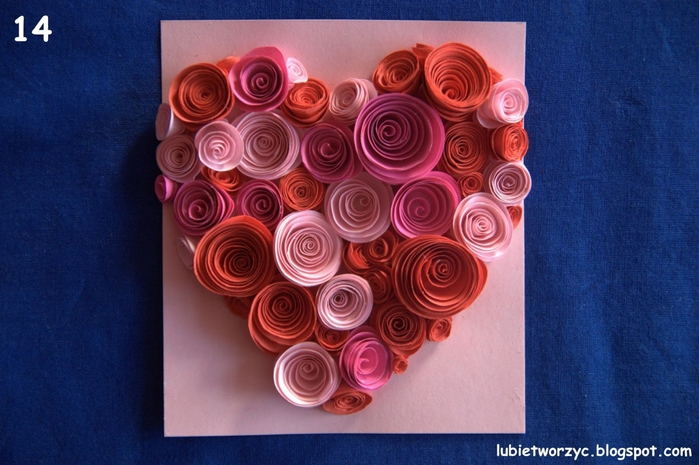 Валентинка из бумажных розочек для создания панно или открытки ручной работы (15) (700x465, 261Kb)