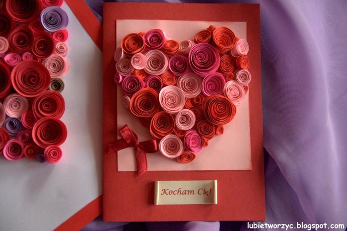 Валентинка из бумажных розочек для создания панно или открытки ручной работы (19) (700x465, 244Kb)