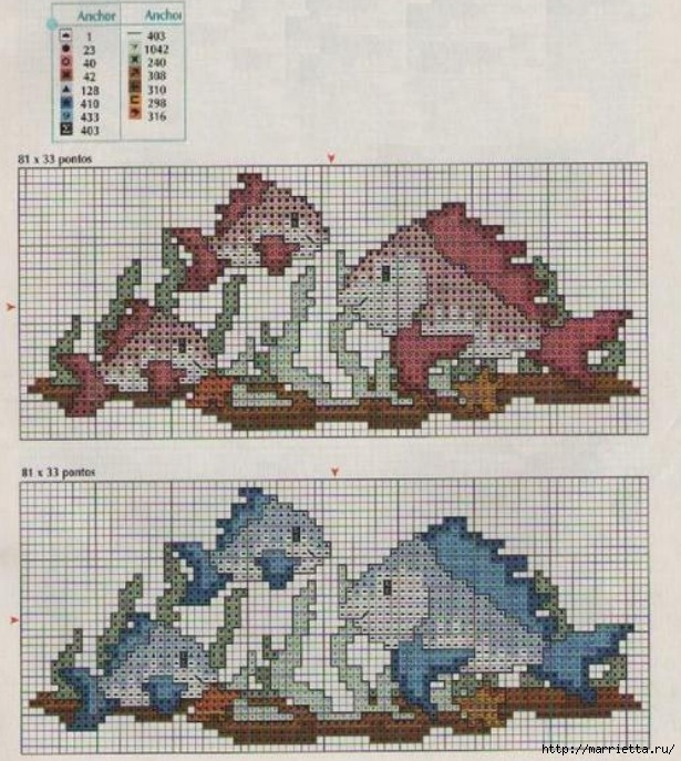 Схемы вышивки крестом для салфетки и полотенца (8) (615x687, 290Kb)
