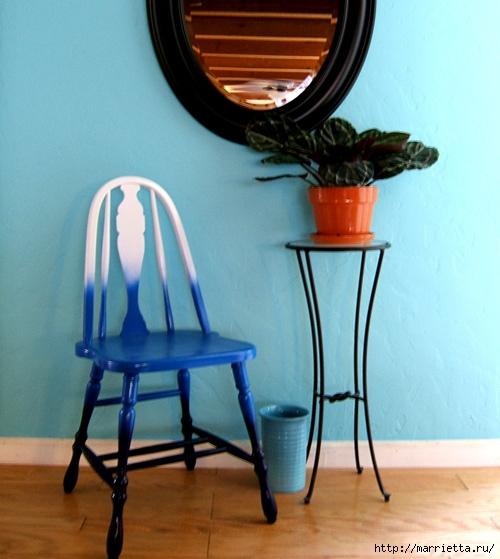 Кухонный стул с эффектом градиента. Реставрация мебели (10) (500x559, 171Kb)