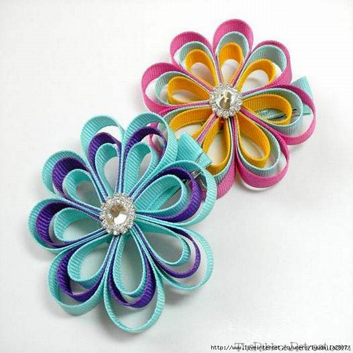 Цветы из тонкой атласных лент пошаговая инструкция